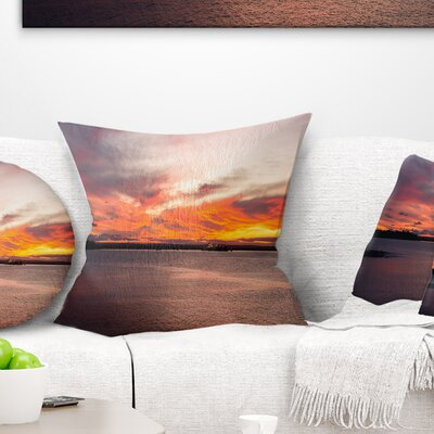 Sky over Calm Sydney Coast Seashore Pillow Size: 18 x 18, Product Type: Throw Pillow
