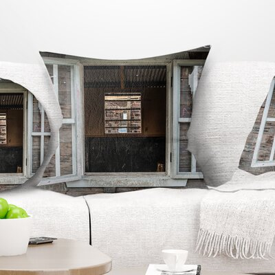 Wooden Walls and Windows Landscape Printed Pillow Size: 18 x 18, Product Type: Throw Pillow