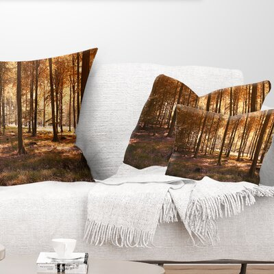 Thick Fall Forest with Leaves Landscape Photography Pillow Size: 12 x 20, Product Type: Lumbar Pillow