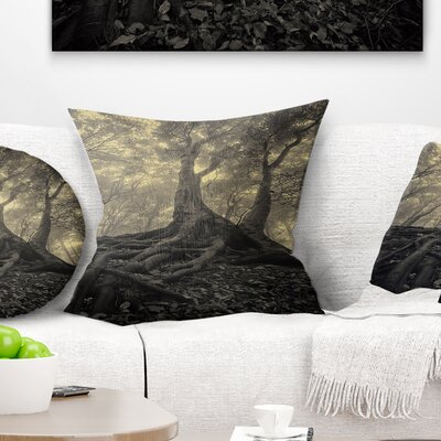 Tree with Big Roots on Halloween Landscape Photography Pillow Size: 16 x 16, Product Type: Throw Pillow