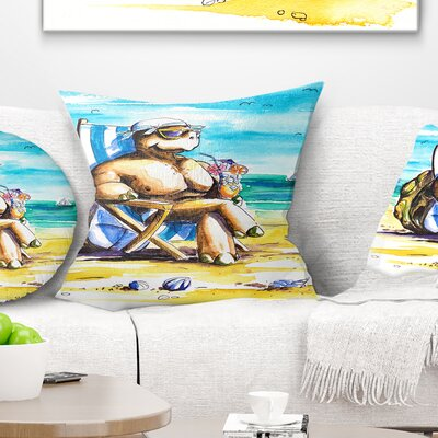 Turtle Enjoying Holidays on Beach Seashore Pillow Size: 16 x 16, Product Type: Throw Pillow