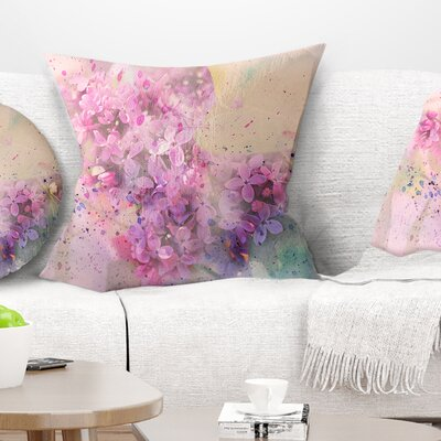 Twig of Lilac Flowers Floral Pillow Size: 16 x 16, Product Type: Throw Pillow