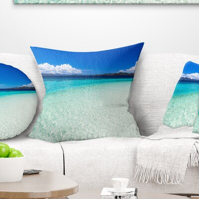 Vacant Beach with Water Seascape Pillow Size: 16 x 16, Product Type: Throw Pillow