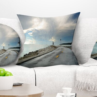 Pathway into the Ocean Sea Bridge Pillow Size: 18 x 18, Product Type: Throw Pillow