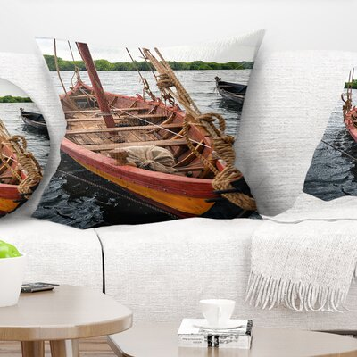 Wooden Boat Seascape Pillow Size: 18 x 18, Product Type: Throw Pillow