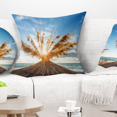 Vivid Sunrise on Sandy Beach Seascape Pillow Size: 16 x 16, Product Type: Throw Pillow