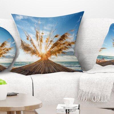 Vivid Sunrise on Sandy Beach Seascape Pillow Size: 18 x 18, Product Type: Throw Pillow