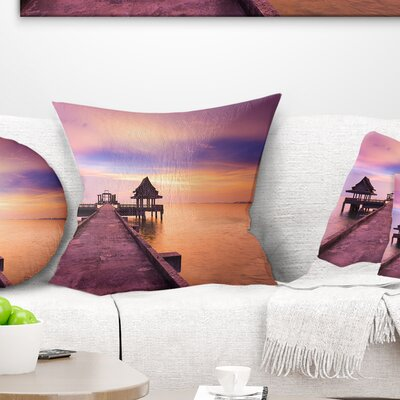 Walking Path to Abandoned Temple Sea Bridge Pillow Size: 18 x 18, Product Type: Throw Pillow