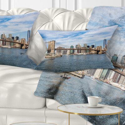 Summer Day Brooklyn Bridge Cityscape Pillow Size: 12 x 20, Product Type: Lumbar Pillow