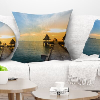 Walking Path to Temple in the Sea Bridge Pillow Size: 18 x 18, Product Type: Throw Pillow