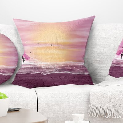 Water and Trees in Desert Landscape Printed Pillow Size: 26 x 26, Product Type: Euro Pillow