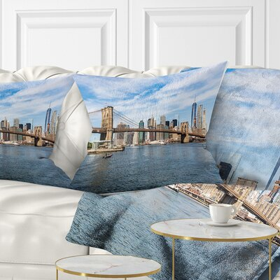 Summer Day Brooklyn Bridge Cityscape Pillow Size: 26 x 26, Product Type: Euro Pillow