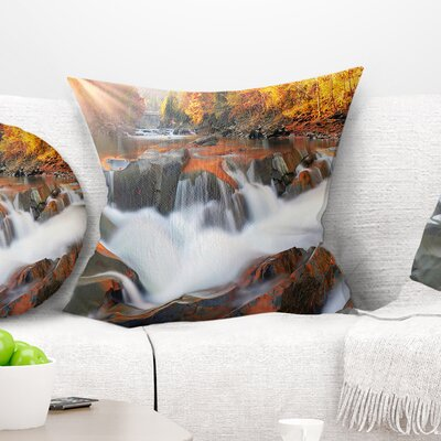 Waterfall Probiy in Prut River Landscape Photography Pillow Size: 18 x 18, Product Type: Throw Pillow