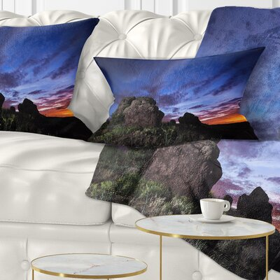 Summer Night Sky Landscape Photography Pillow Size: 12 x 20, Product Type: Lumbar Pillow