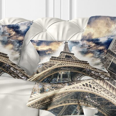 The Paris Paris Eiffel Towerview from Ground Cityscape Pillow Size: 12 x 20, Product Type: Lumbar Pillow