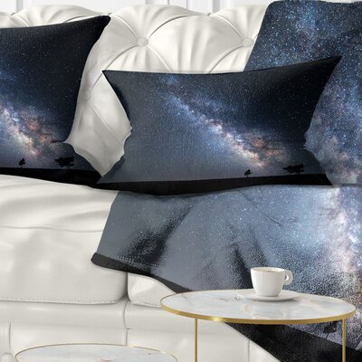 Summer Night with Stars in Crimea Landscape Photography Pillow Size: 12 x 20, Product Type: Lumbar Pillow