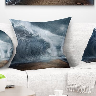 Waves over the Parted Sea Path Seashore Pillow Size: 18 x 18, Product Type: Throw Pillow
