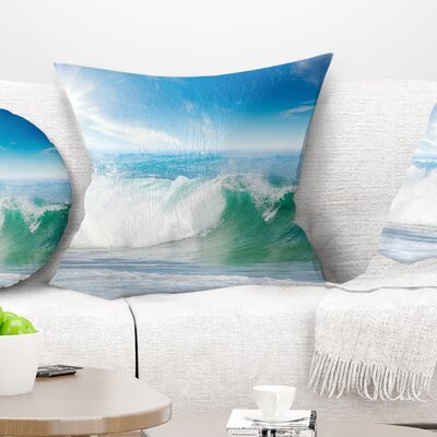 Waves Under Sun Seascape Pillow Size: 16