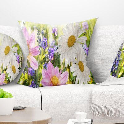 Wild Flowers Field at Sunset Floral Pillow Size: 16 x 16, Product Type: Throw Pillow