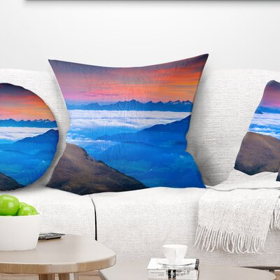 Summer Sunrise in Italian Alps Landscape Photo Pillow Size: 18 x 18, Product Type: Throw Pillow