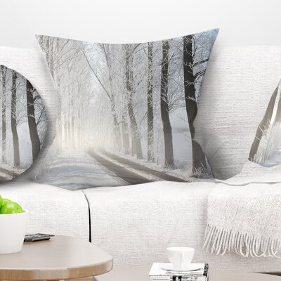 Winter Lane in Foggy Morning Landscape Photo Pillow Size: 18 x 18, Product Type: Throw Pillow