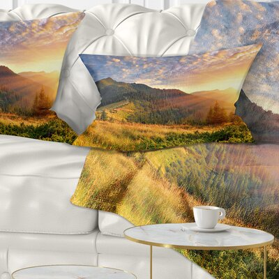 Summer Sunrise Under Thick Clouds Landscape Photography Pillow Size: 12 x 20, Product Type: Lumbar Pillow