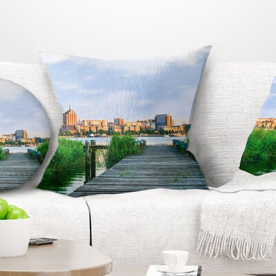 Wooden Bridge to River Warnow Landscape Printed Pillow Size: 16 x 16, Product Type: Throw Pillow