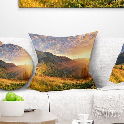 Summer Sunrise Under Thick Clouds Landscape Photography Pillow Size: 18 x 18, Product Type: Throw Pillow