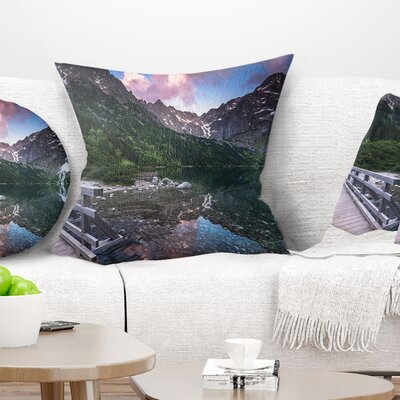 Wooden Foot Bridge over Lake Landscape Printed Pillow Size: 16 x 16, Product Type: Throw Pillow