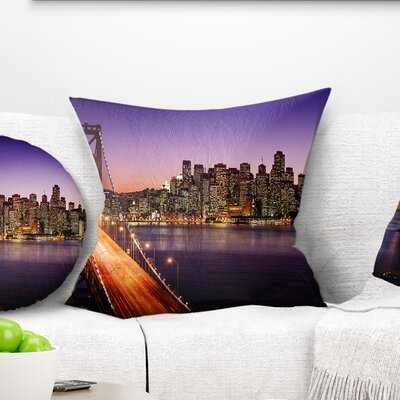 San Francisco Skyline and Bay Bridge Sea Bridge Pillow Size: 26 x 26, Product Type: Euro Pillow