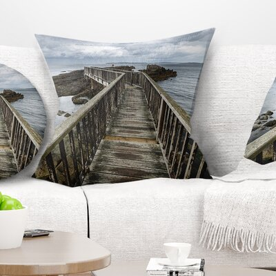 Wooden Pier on North Irish Coastline Sea Bridge Pillow Size: 16 x 16, Product Type: Throw Pillow