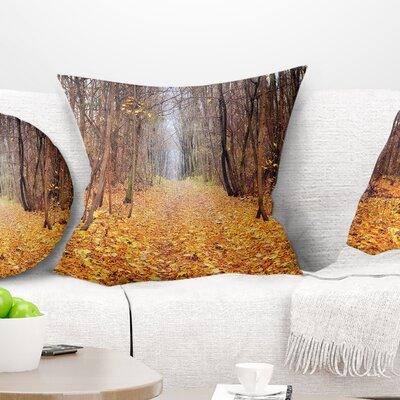 Fallen Leaves in Morning Landscape Photography Pillow Size: 18 x 18, Product Type: Throw Pillow