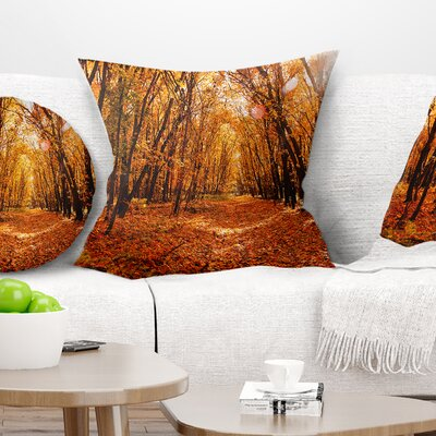 Falling Leaves in Forest Landscape Photo Pillow Size: 16 x 16, Product Type: Throw Pillow