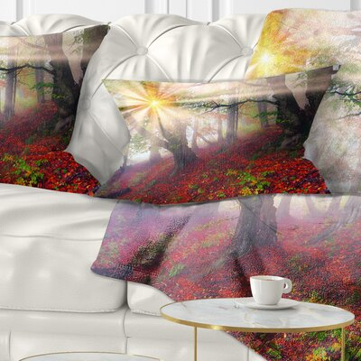 Sun in Forest After Heavy Storm Landscape Photography Pillow Size: 12 x 20, Product Type: Lumbar Pillow