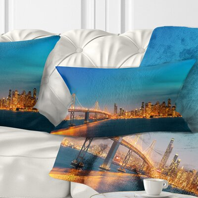 San Francisco Skyline at Night Cityscape Pillow Size: 12 x 20, Product Type: Lumbar pillow