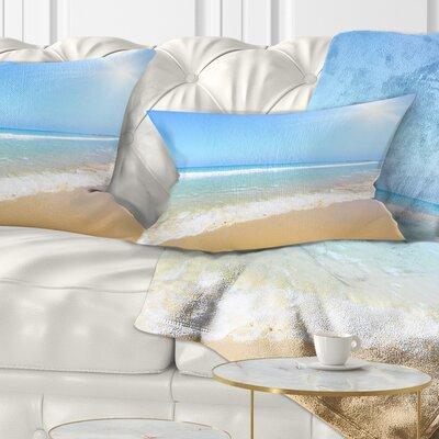 Sun over Tropical Beach Seashore Photo Pillow Size: 12 x 20, Product Type: Lumbar Pillow