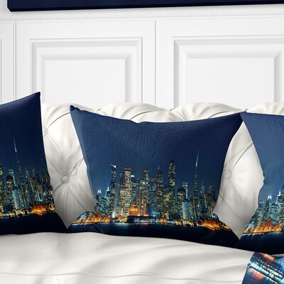 San Francisco Skyline at Night Cityscape Pillow Size: 16 x 16, Product Type: Throw Pillow