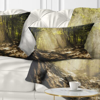 Sun Rays Through Trees Landscape Photography Pillow Size: 12 x 20, Product Type: Lumbar Pillow