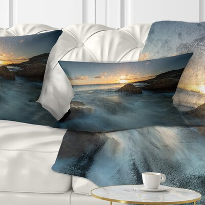 Sydney Seashore at Sunset Seascape Pillow Size: 12 x 20, Product Type: Lumbar Pillow