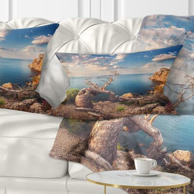 Sunny Morning with Old Tree Seashore Photo Pillow Size: 12 x 20, Product Type: Lumbar Pillow