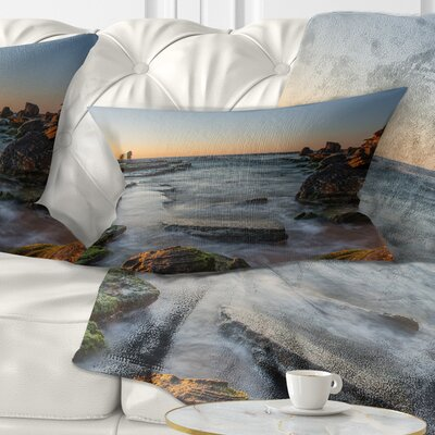 Sydney Sunrise over Seashore Seascape Pillow Size: 12 x 20, Product Type: Lumbar Pillow