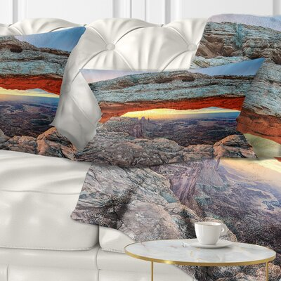 Sunrise at Mesa Arch in Canyon Lands Landscape Printed Pillow Size: 12 x 20, Product Type: Lumbar Pillow