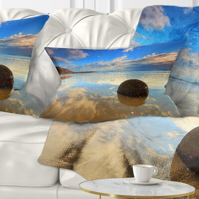 Sunrise at Moeraki Boulders Seashore Photo Pillow Size: 12 x 20, Product Type: Lumbar Pillow