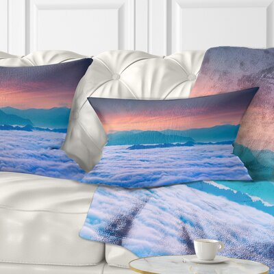 Sea of Fog and Mountains Landscape Photography Pillow Size: 12 x 20, Product Type: Lumbar Pillow