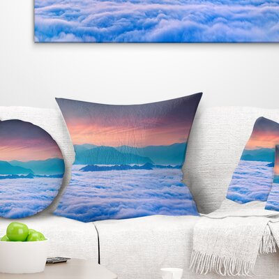 Sea of Fog and Mountains Landscape Photography Pillow Size: 26 x 26, Product Type: Euro Pillow