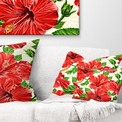Seamless Hibiscus Flowers Pattern Floral Pillow Size: 12 x 20, Product Type: Lumbar Pillow