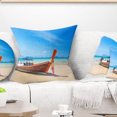 Tropical Beach with Boat Seashore Photo Pillow Size: 26 x 26, Product Type: Euro Pillow