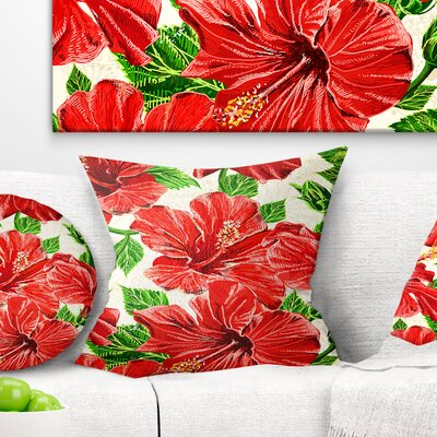 Seamless Hibiscus Flowers Pattern Floral Pillow Size: 16 x 16, Product Type: Throw Pillow