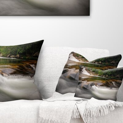 Segade Waterfall Galicia Spain Landscape Photo Pillow Size: 12 x 20, Product Type: Lumbar Pillow