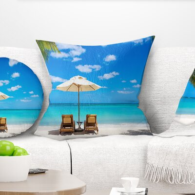 Beach with Chairs Seashore Photo Pillow Size: 16 x 16, Product Type: Throw Pillow